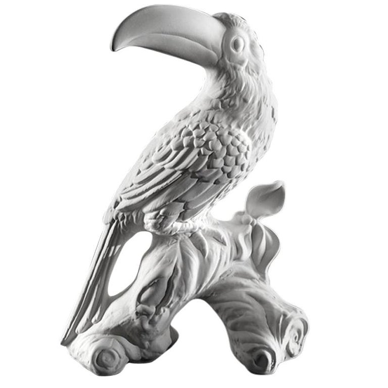 Toucan Sculpture Ceramic White For Sale