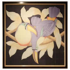 Toucans in Black and Lilac Hand-Signed 1980s Aquarelle on Silk, France
