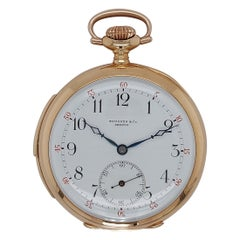 Touchon & Co 14kt Yellow Gold Minute Repeater Pocket Watch with Enamel Dial