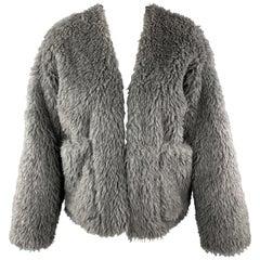 TOUJOURS Size S Gray Alpaca Blend Fauc Fur V Neck Jacket