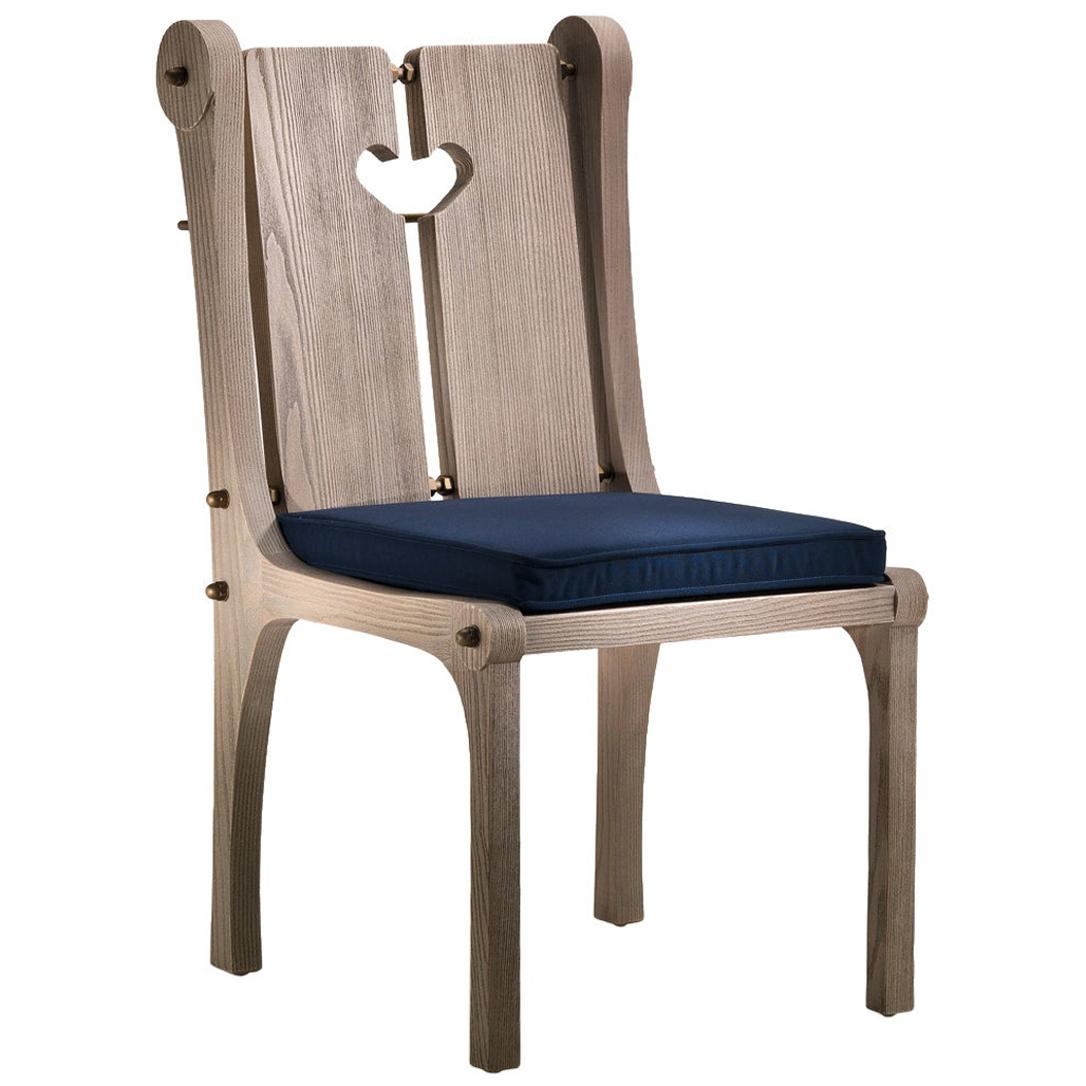 Toula Outdoor Dining Chair in Solid Sassafrass with Seat Cushion and Heart Motif