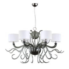 Contemporary Chandelier 6arms Grey Murano Glass White Lampshades by Multiforme