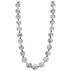 Tourmalinated Quartz Beaded Necklace with 14 Karat White Gold Clasp and Spacers