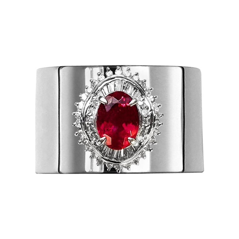 Tourmaline 1.690 Carat Diamond 0.470 Carat Platinum Wide Band Ring For Sale