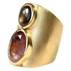 Tourmaline 18 Karat Brushed Gold Band Ring