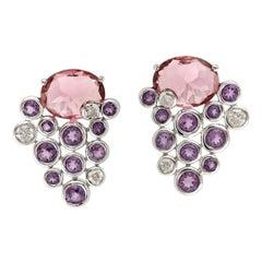 Tourmaline 18 Karat Gold Diamond Stud Earrings