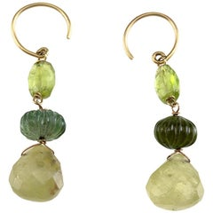 Tourmaline 18 Karat Gold Earrings