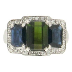 Tourmaline 18 Karat White Gold Sapphires and Diamonds Cocktail Ring
