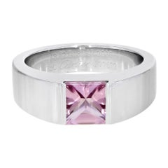 Tourmaline 18 Karat White Gold Tank Ring