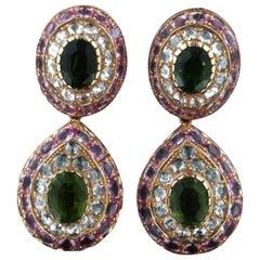 Tourmaline 18 Karat Yellow Gold Sapphires Diamonds Drop Earrings