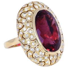 Tourmaline 33 Carat Yellow 18 Karat Gold Diamonds Ring, 1950