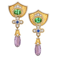 Tourmaline, Amethyst, Blue Sapphire, Diamond, 18k Gold and Platinum Earrings