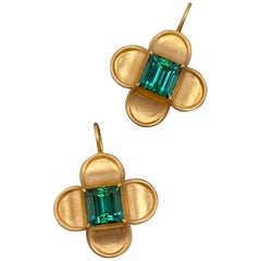 Tourmaline and 18 Karat Gold 'Fleur-de-Lys' Renaissance Revival Ear Pendants