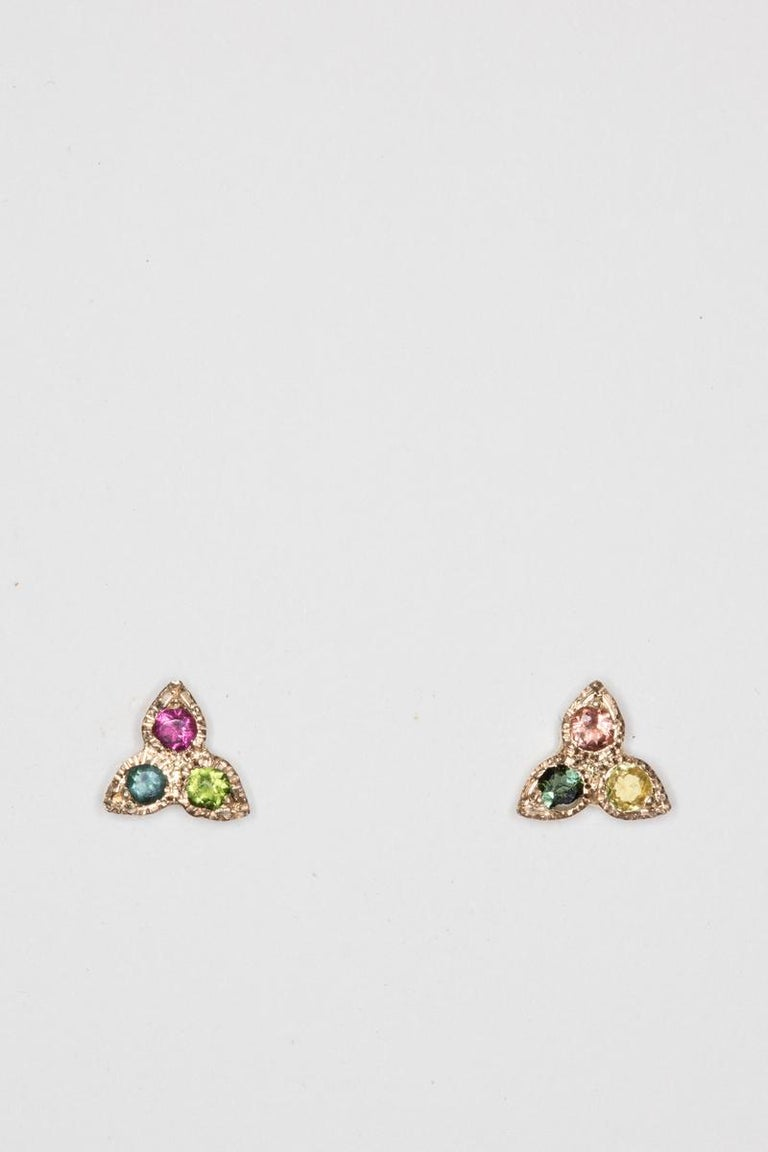 Women's or Men's Tourmaline and 18 Karat Gold Studs For Sale