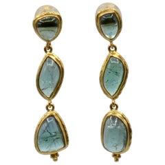 Tourmaline and 18 Karat Gold Triple Drop Cabochon Earrings