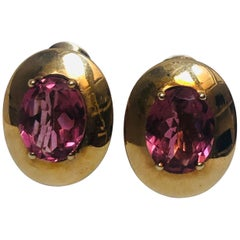 Tourmaline and 9 Karat Yellow Gold Earrings