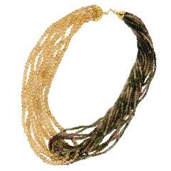 Tourmaline and Citrine Quarz Italian Necklace