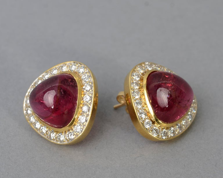 Modern Tourmaline and Diamond Gold Earrings For Sale