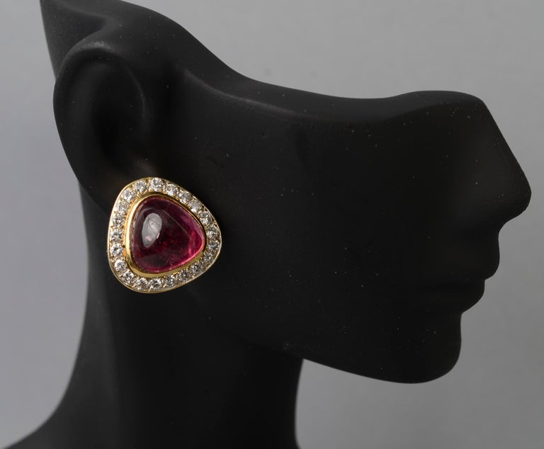 Women's or Men's Tourmaline and Diamond Gold Earrings For Sale