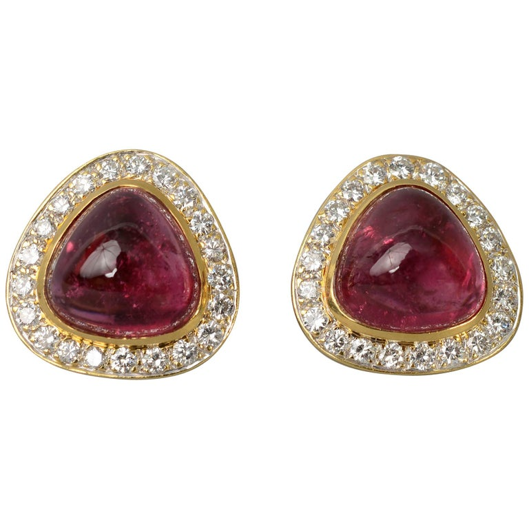 Tourmaline and Diamond Gold Earrings For Sale