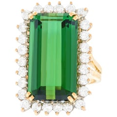 Tourmaline and Diamond Gold Ring