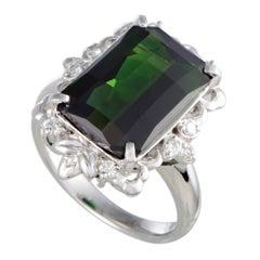 Tourmaline and Diamond Platinum Cocktail Ring