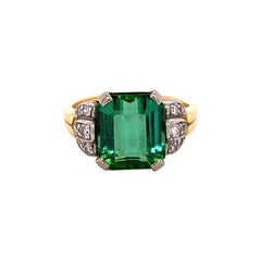 Tourmaline and Diamond Ring in 18 Karat Yellow Gold and White Gold