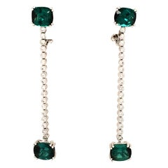 Tourmaline and Diamond White Gold Earhangers
