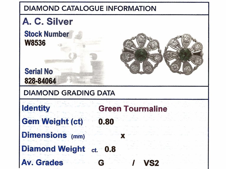 Tourmaline and Diamond White Gold Stud Earrings For Sale 4