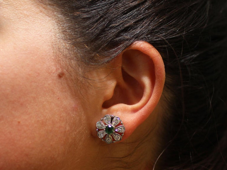 Tourmaline and Diamond White Gold Stud Earrings For Sale 5