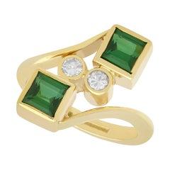 Tourmaline and Diamond Yellow Gold Twist Ring