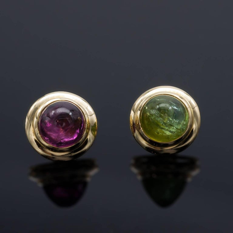 Modern Tourmaline Diamonds 18 kT Gold Earrings and Pendant Set For Sale