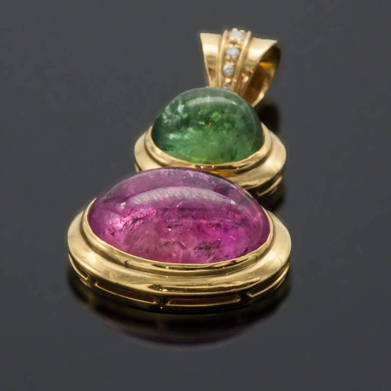 Tourmaline Diamonds 18 kT Gold Earrings and Pendant Set In New Condition For Sale In Monte Carlo, MC