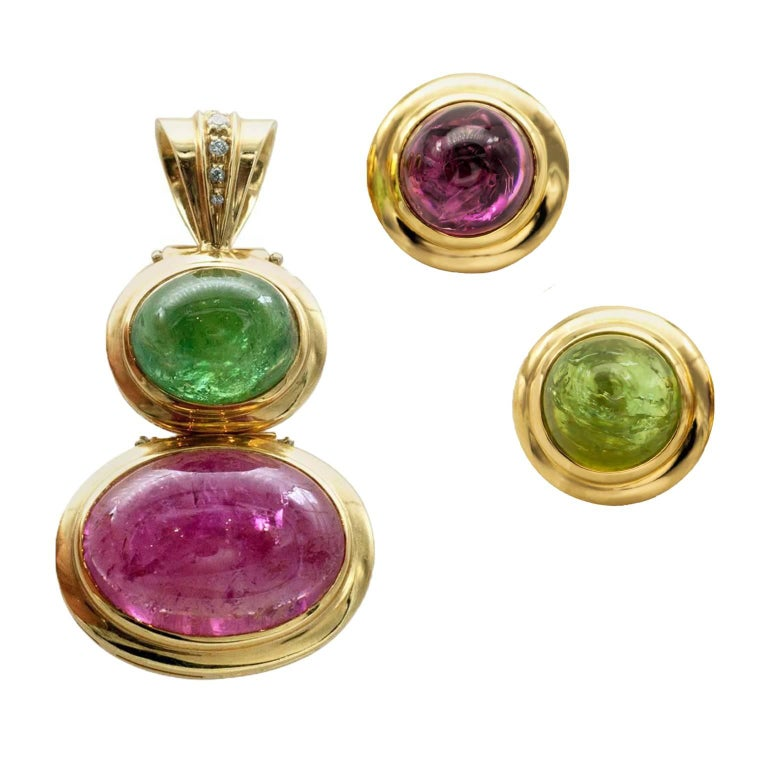 Tourmaline Diamonds 18 kT Gold Earrings and Pendant Set For Sale