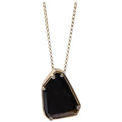 Black Tourmaline and Diamond Gold Plated Pendant Necklace by Cristina Ramella