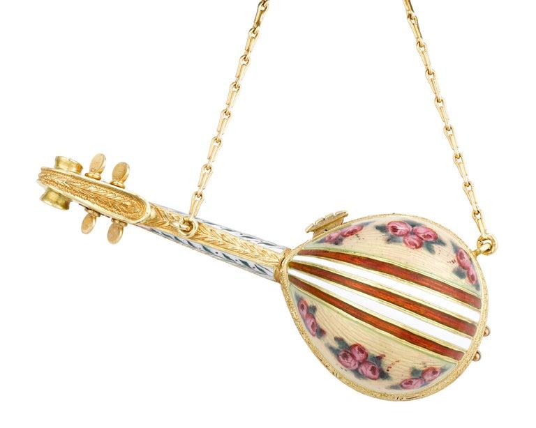 Modern Tourmaline and Enamel Mandolin Lapel Watch For Sale