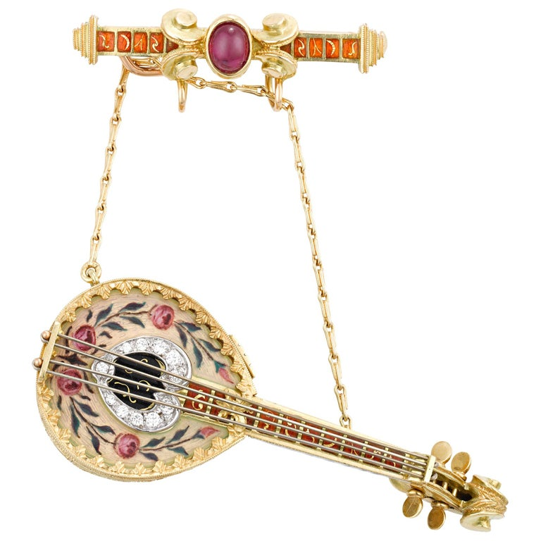 Tourmaline and Enamel Mandolin Lapel Watch For Sale