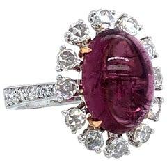 Tourmaline and Rose Cut Diamonds 18 Karat Ring