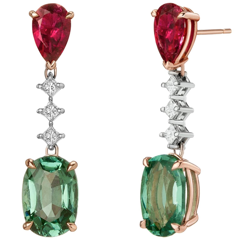 Tourmaline and Rubelite Ooak Drop Earrings