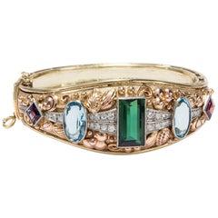 Tourmaline Aquamarine Amethyst Diamond Gold Vintage 1950s Artisan Signed Bangle