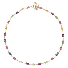 Tourmaline Bead Wire-Wrap Gold Necklace