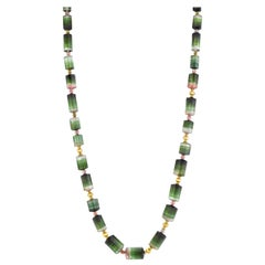 Bi-colored Green, Pink Tourmaline Beaded Station Necklace w/ Yellow Gold Accents