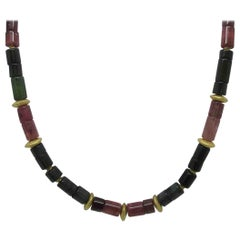 Tourmaline Beads with 18 Karat and 14 Karat Yellow Gold Spacers Necklace