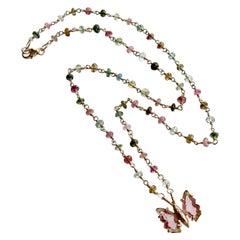 Tourmaline Butterfly Pendant Tourmaline Beaded Chain-Le Papillon XXIII Necklace