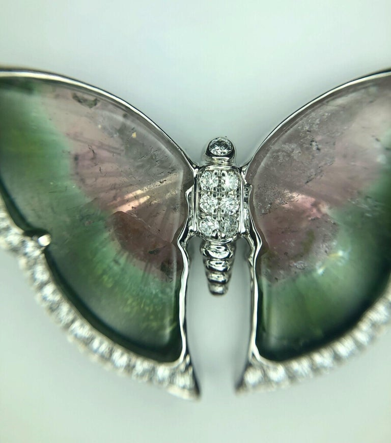 Tourmaline Butterfly Pendant with 0.25 Carat of Accent Diamonds on Chain 2