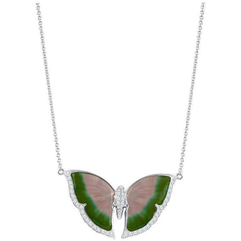 Tourmaline Butterfly Pendant with 0.25 Carat of Accent Diamonds on Chain 1