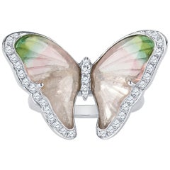 Tourmaline Butterfly Ring with 0.25 Carat Round Brilliant Cut Diamond Accents