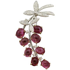 "Tourmaline Cabochon ""Berries"" Diamond Gold Brooch"