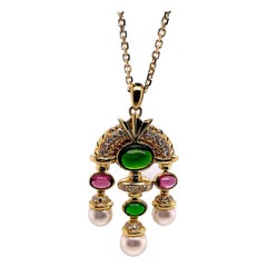 Tourmaline Cabochon, Diamond and Pearl Pendant Necklace