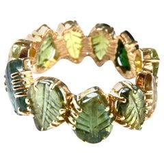 Tourmaline Carved Leaf 18 Karat Gold Band Ring